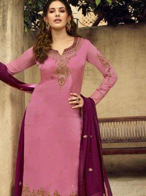 Georgette Hot Pink Resham Designer Salwar Kameez