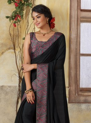 Georgette Lace Casual Saree in Black