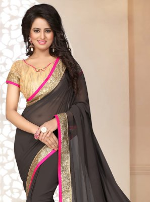 Georgette Lace Grey Saree