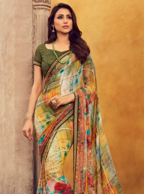 Georgette Lace Multi Colour Designer Contemporary Saree