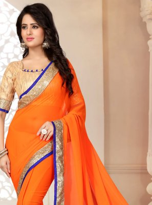 Georgette Lace Orange Saree