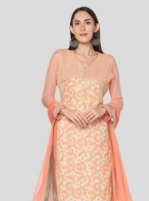 Georgette Lace Peach Salwar Suit