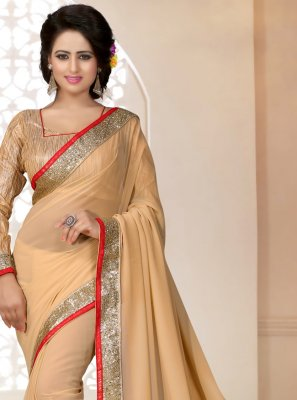 Georgette Lace Saree in Peach