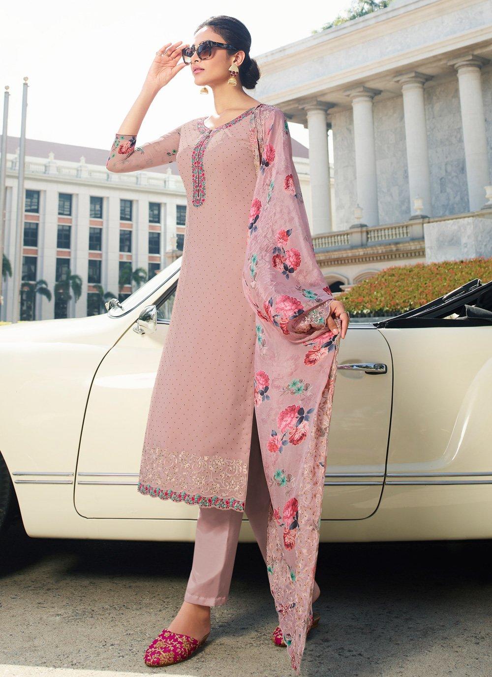 Georgette Lavender Pant Style Suit