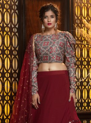 Georgette Lehenga Choli in Maroon