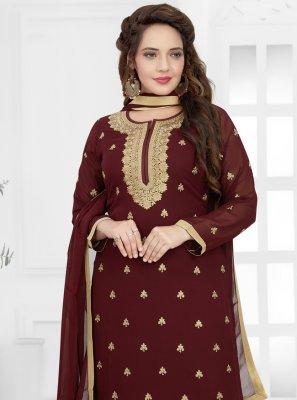 Georgette Maroon Designer Palazzo Salwar Kameez