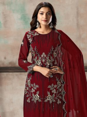 Georgette Maroon Embroidered Salwar Kameez