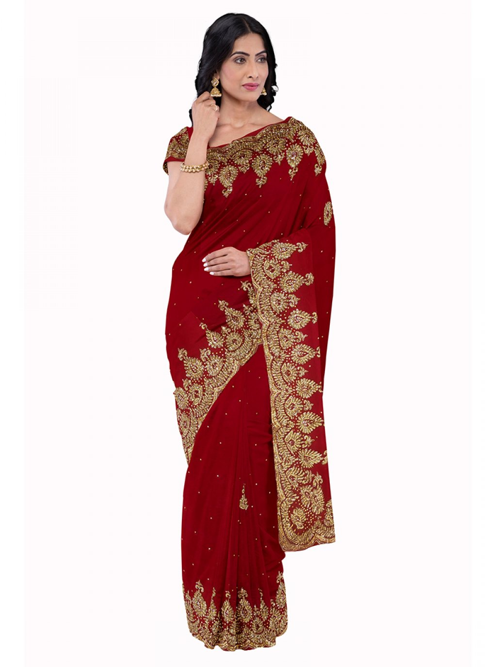 Georgette Maroon Embroidered Saree