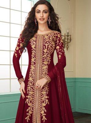 Georgette Maroon Salwar Suit