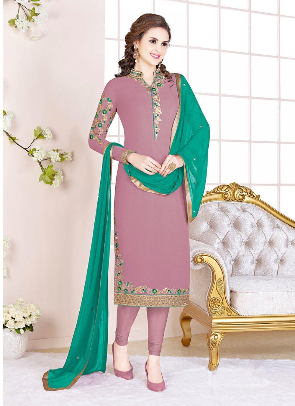 Georgette Mauve  Embroidered Churidar Salwar Suit