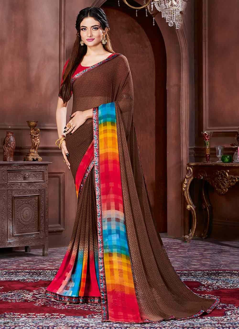 Georgette Multi Colour Contemporary Saree
