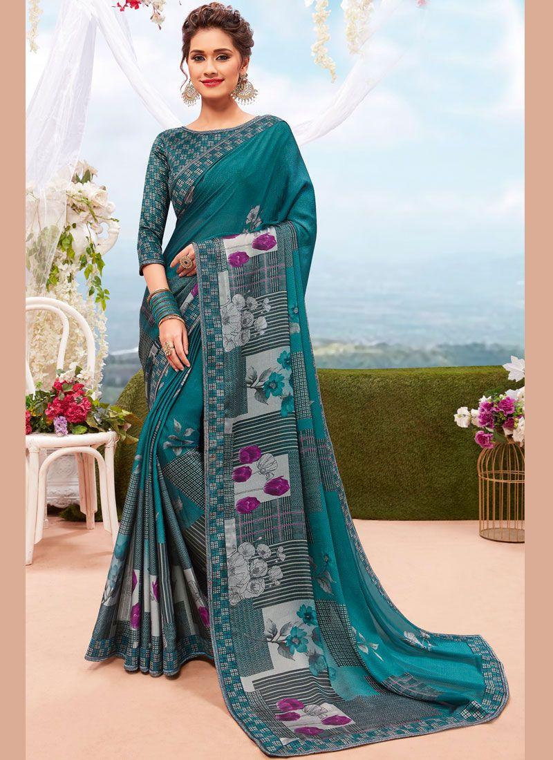 Georgette Multi Colour Printed Casual Saree