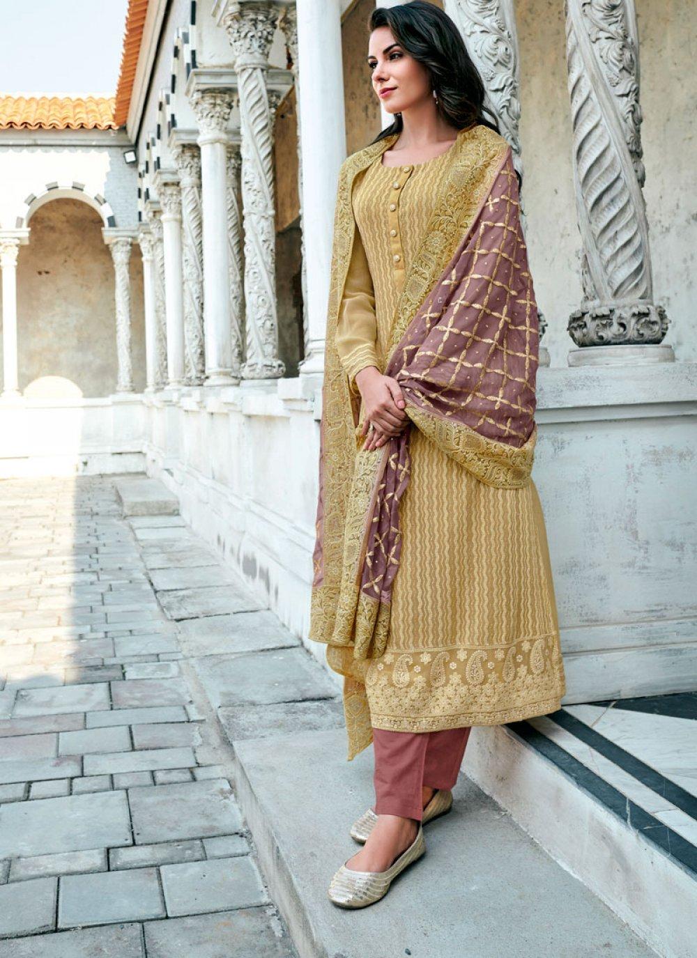 Georgette Mustard Embroidered Designer Suit