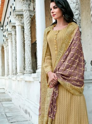 Georgette Mustard Embroidered Designer Suit