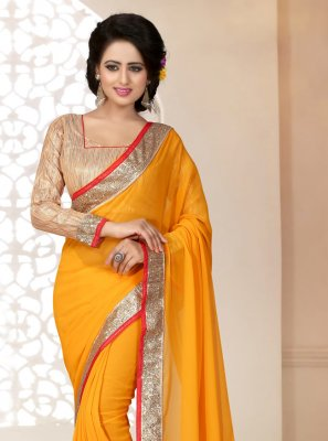 Georgette Mustard Saree