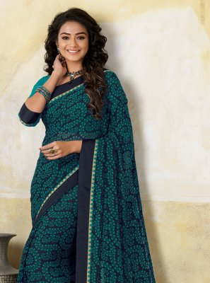 Georgette Navy Blue Casual Saree
