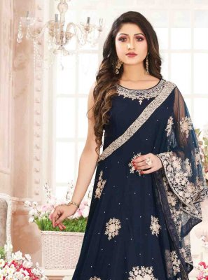 Georgette Navy Blue Embroidered Designer Gown