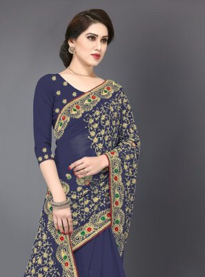 Georgette Navy Blue Embroidered Designer Saree