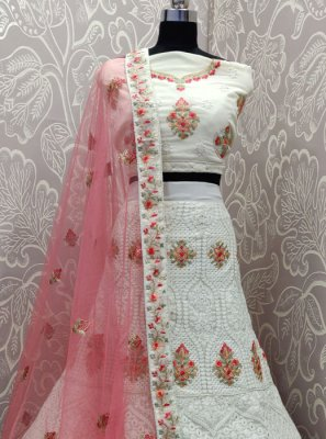 Georgette Off White Designer Lehenga Choli