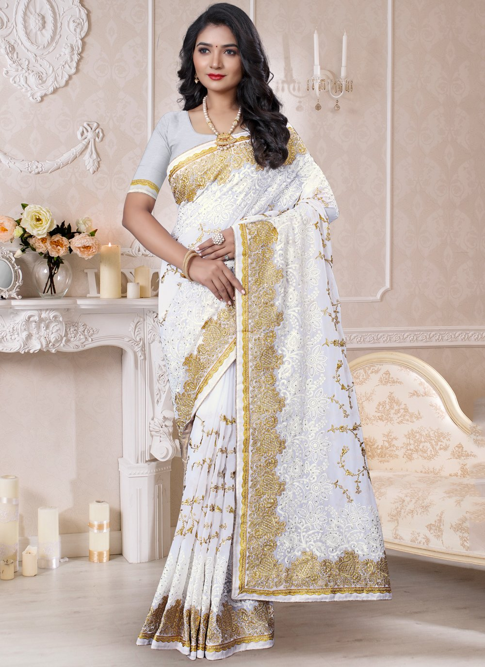 Georgette Off White Resham Classic Saree