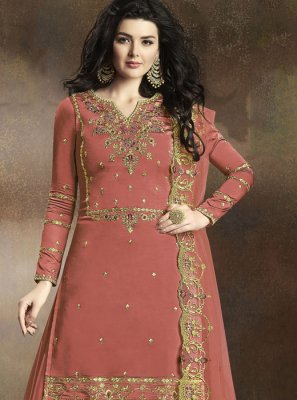 Georgette Orange Embroidered Palazzo Salwar Suit