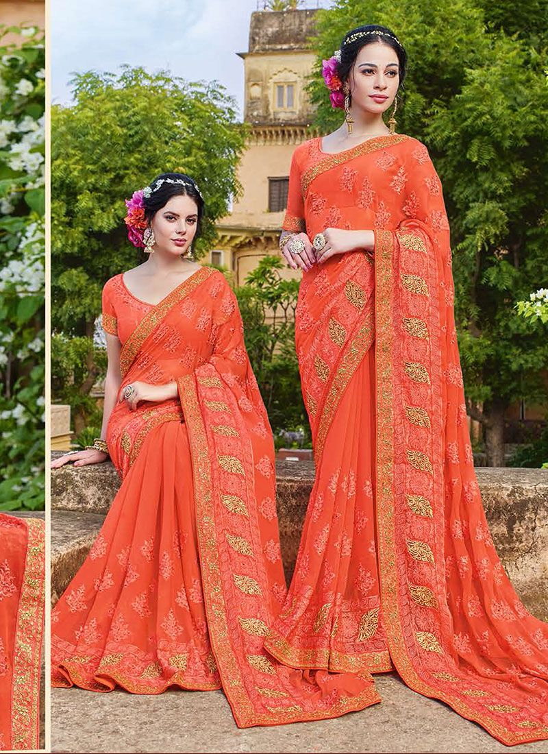 Georgette Orange Resham Classic Saree