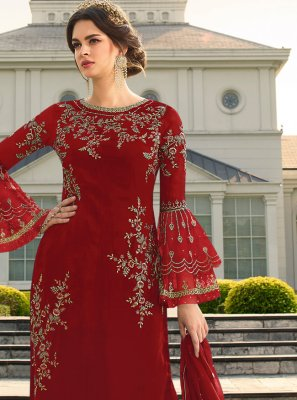 Georgette Palazzo Salwar Suit in Red