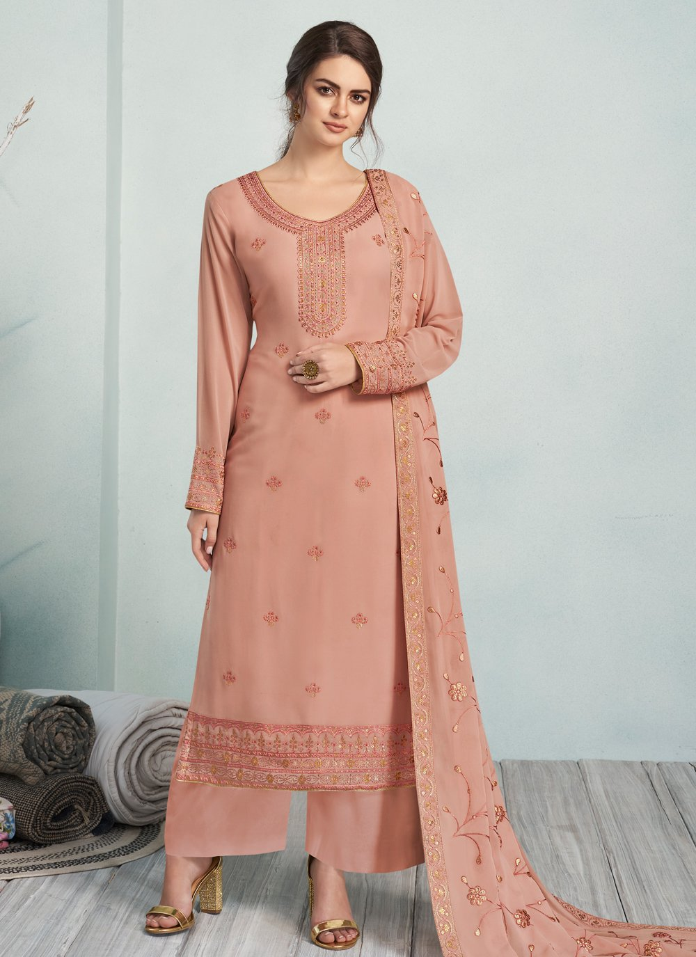 Georgette Party Trendy Palazzo Suit
