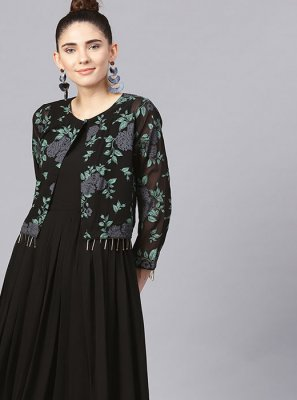 Georgette Party Wear Kurti in Black