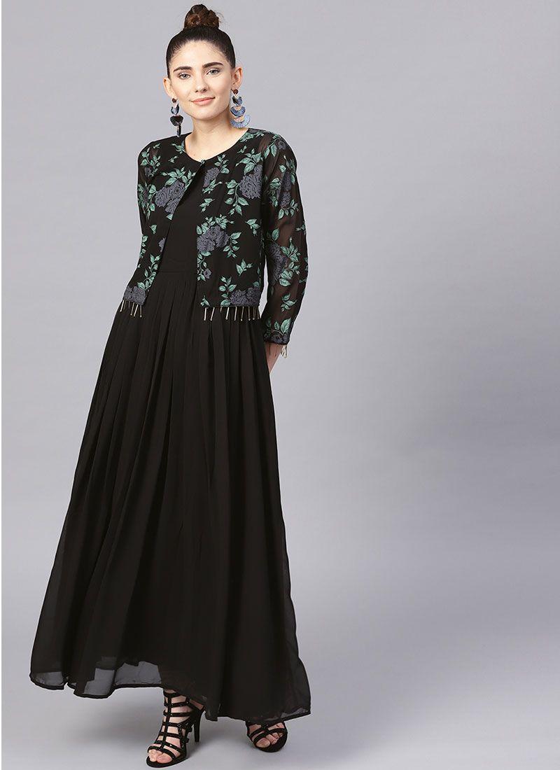 Georgette Party Wear Kurti in Black