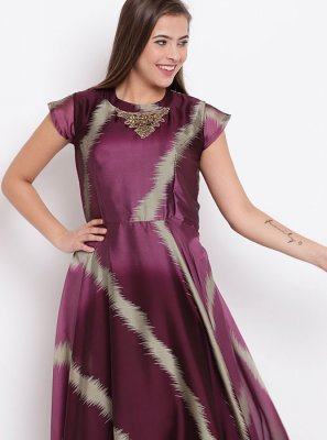 Georgette Party Wear Kurti in Purple