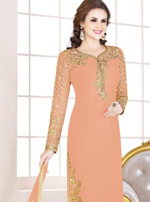 Georgette Peach Embroidered Designer Salwar Suit