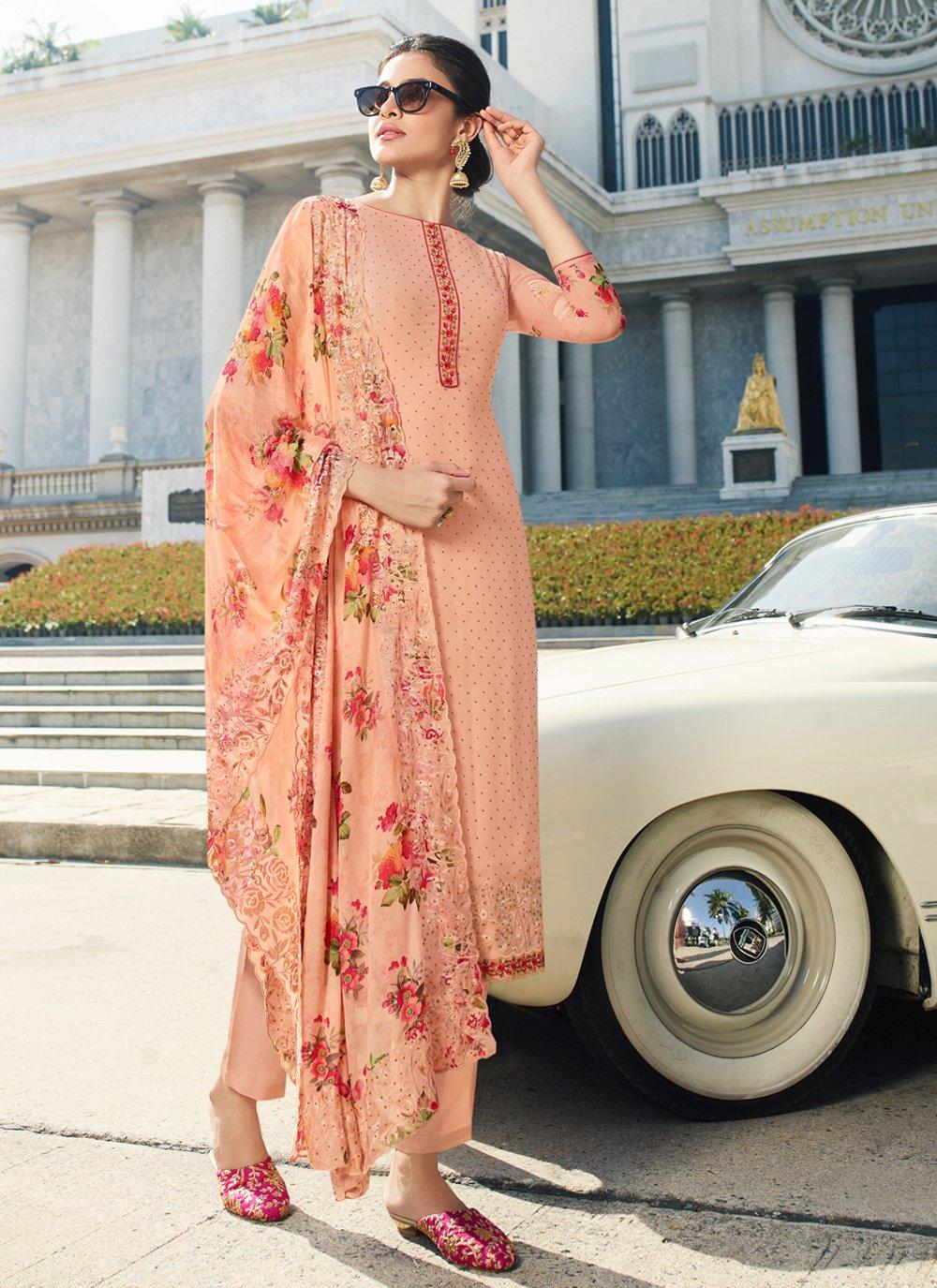 Georgette Peach Salwar Kameez