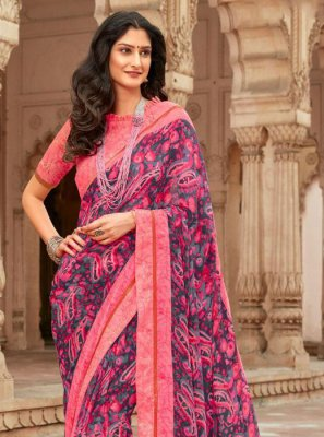 Georgette Pink Lace Saree