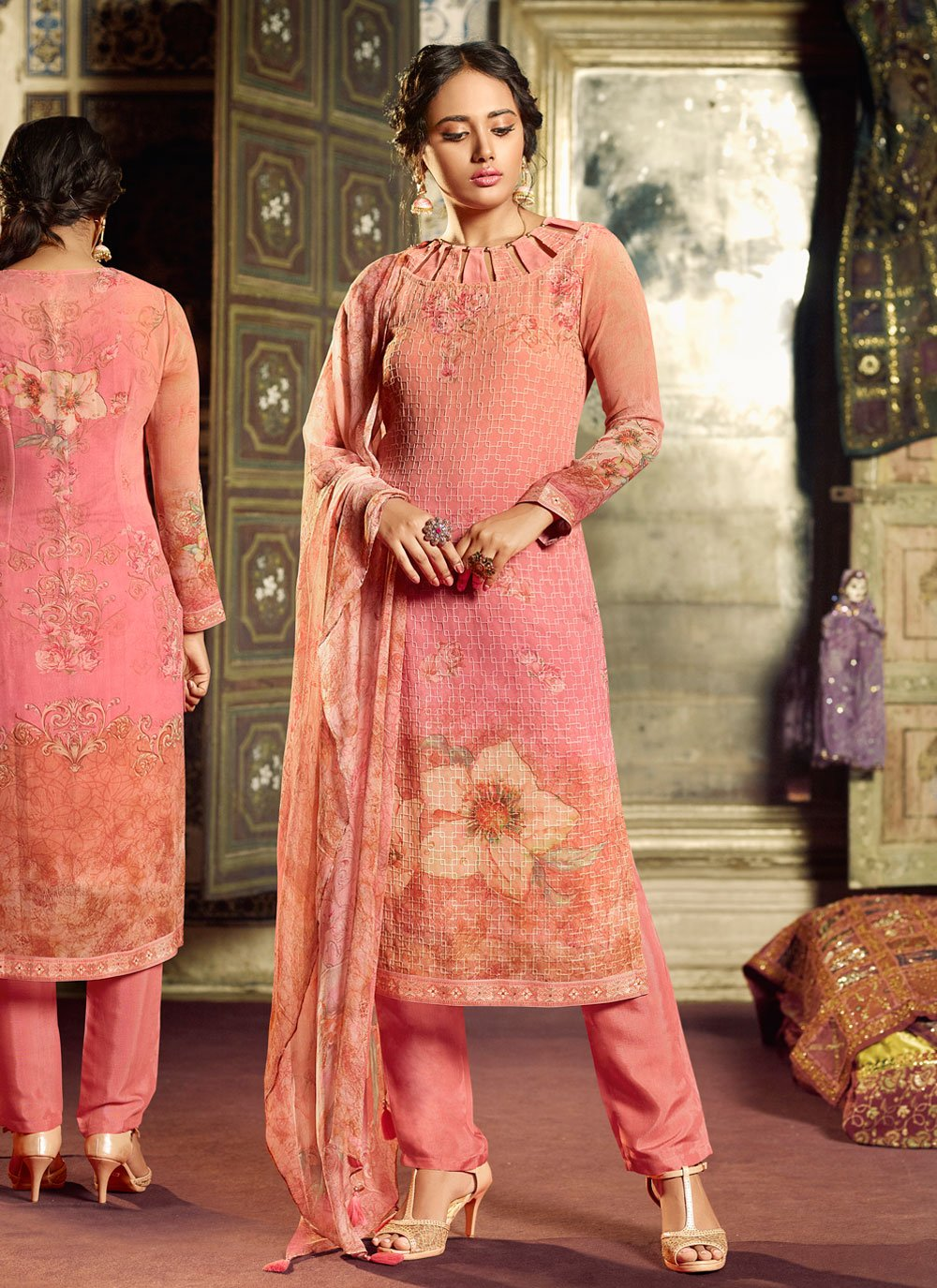 Georgette Print Hot Pink Salwar Suit