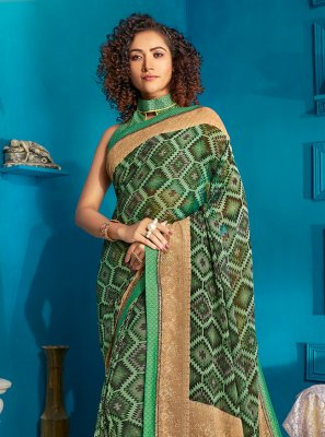Georgette Print Traditional Saree in Green
