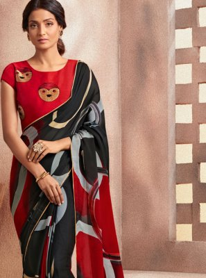 Georgette Printed Black Casual Saree