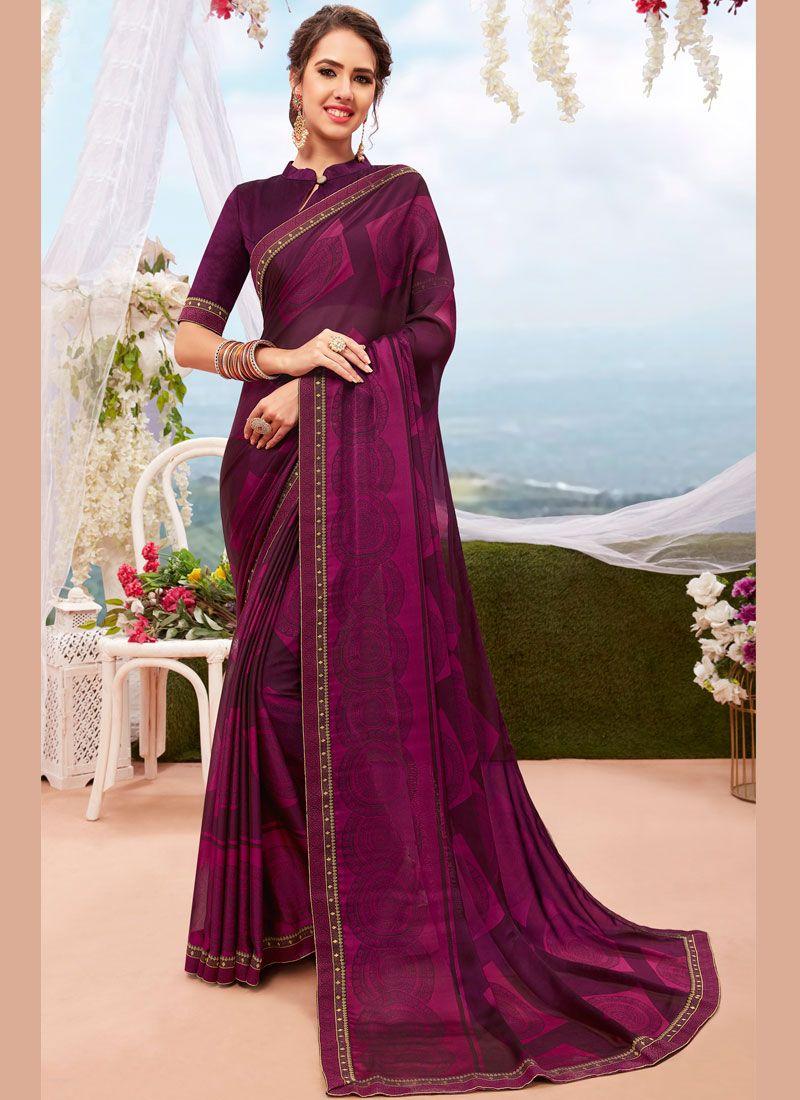 Georgette Printed Casual Saree in Purple