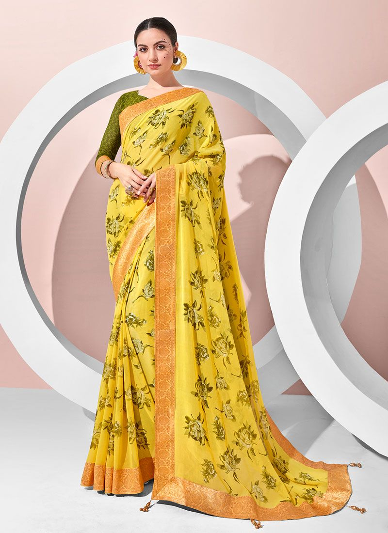 Georgette Printed Classic Designer Saree in Yellow