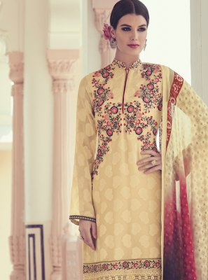 Georgette Printed Cream Trendy Salwar Kameez