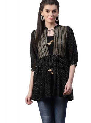 Georgette Printed Designer Kurti in Black