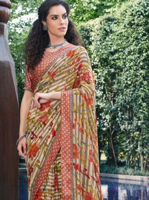 Georgette Printed Multi Colour Designer Saree