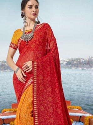 Georgette Printed Orange and Red Classic Designer Saree