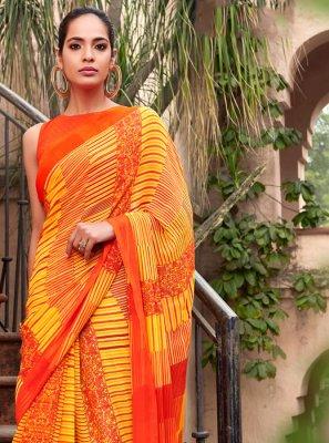 Georgette Printed Orange and Yellow Half N Half  Saree
