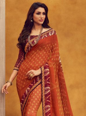 Georgette Printed Orange Contemporary Saree