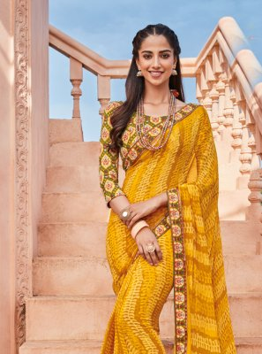 Georgette Printed Yellow Classic Saree