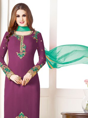 Georgette Purple Churidar Salwar Kameez