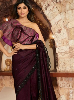 Georgette Purple Classic Saree