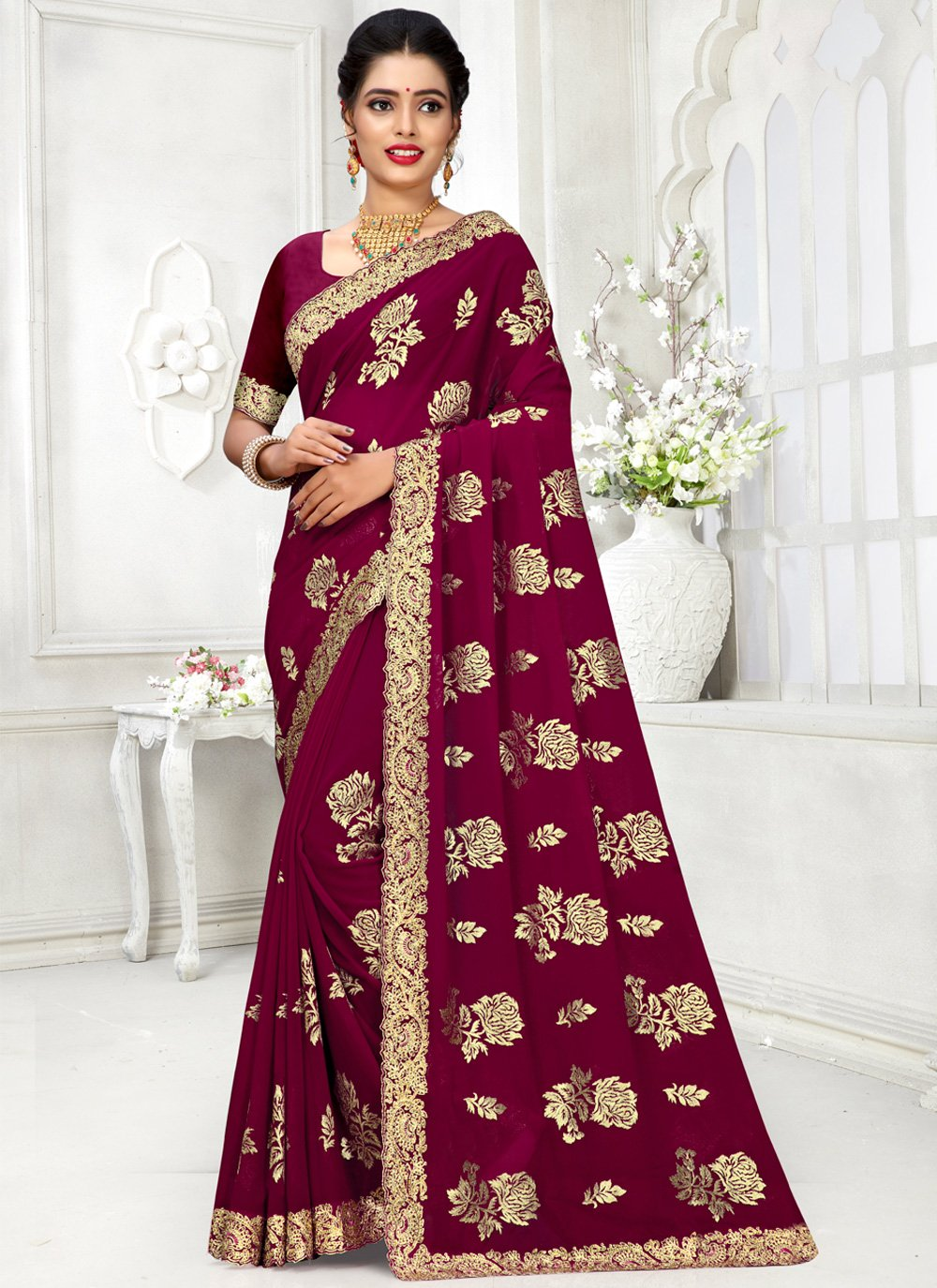 Georgette Purple Contemporary Saree