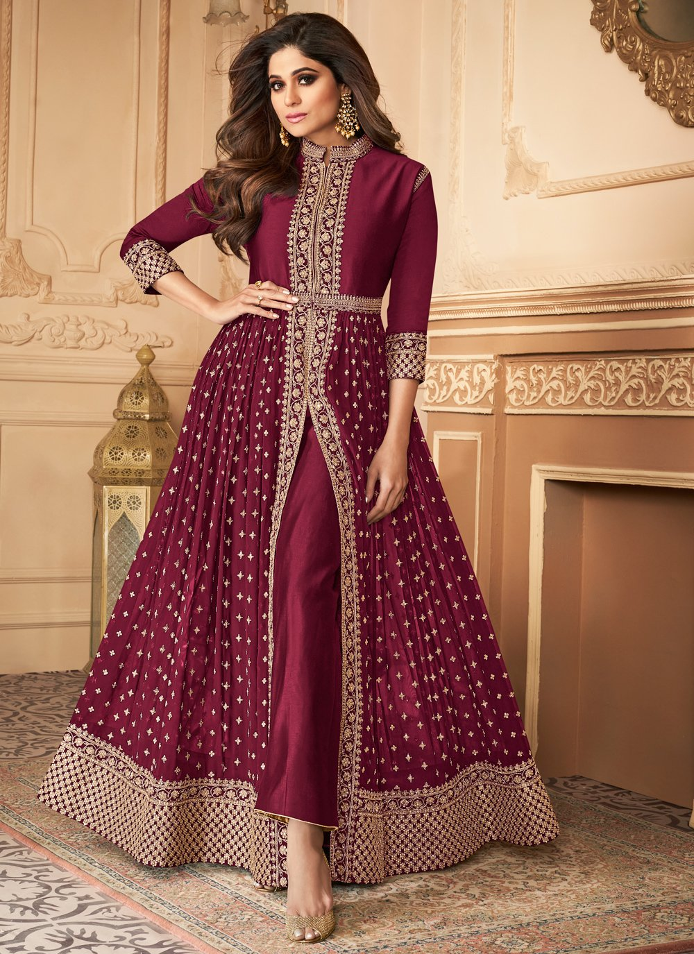 Georgette Purple Embroidered Designer Salwar Suit